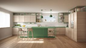 Modern white and green kitchen with wooden details and parquet floor, modern pendant lamps, minimalistic interior design concept vector illustration