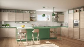 Modern white and green kitchen with wooden details and parquet floor, modern pendant lamps, minimalistic interior design concept. Idea, island with stools and royalty free illustration