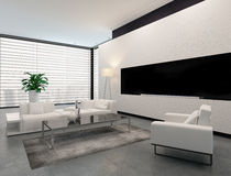 Modern white, grey and black living room interior Stock Photography