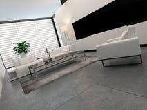 Modern white, grey and black living room interior Stock Photo