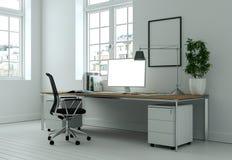Modern white home office interior design 3d Rendering. Mockup stock image