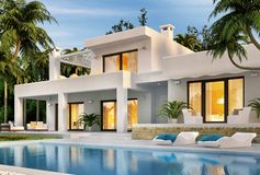 Modern white house with swimming pool. Beautiful modern white house with swimming pool stock illustration