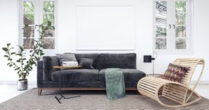 Modern white interior with black sofa stock photography