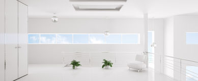 Modern white interior panorama 3d render Stock Photography