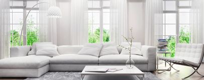 Free Modern White Interior With A Sofa And Large Windows Stock Image - 143019841