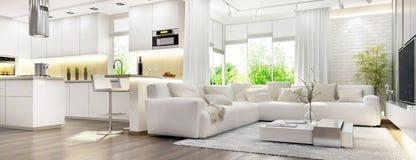 Free Modern White Interior With White Kitchen Stock Images - 149726044