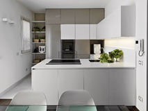 Modern white kitchen Stock Photos
