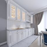 Modern white kitchen in a classic style, interior with white furniture and gray walls. Luxurious kitchen interior design stock illustration