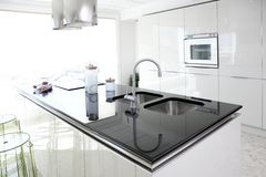 Modern white kitchen clean interior design Stock Images
