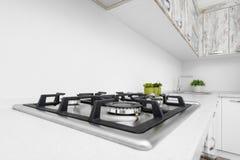 Modern white kitchen interior royalty free stock images