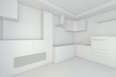 Modern white kitchen interior in minimalism style. 3d rendering.  Stock Image
