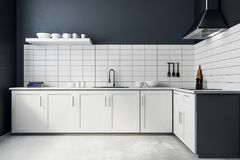 Modern white kitchen interior. Style and design concept. 3D Rendering Stock Image