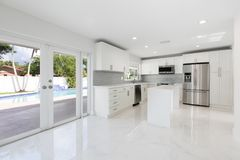 Modern White Kitchen. A modern, white kitchen in a vacant home stock photography