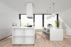 Modern white kitchen with dining area Stock Photos