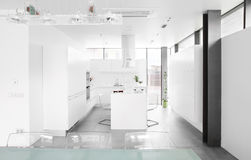 Modern white kitchen with stylish furniture royalty free stock images