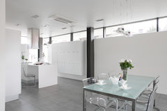 Modern white kitchen with stylish furniture Stock Photo