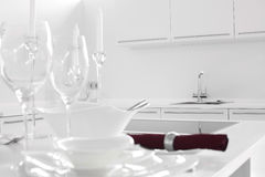 Modern white kitchen with stylish furniture Stock Photography
