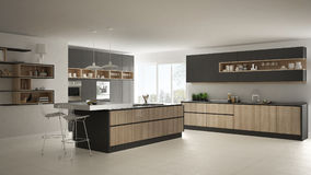 Modern white kitchen with wooden and gray details, minimalistic. Interior design vector illustration