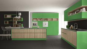 Modern white kitchen with wooden and green details, minimalistic interior design royalty free illustration