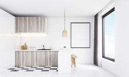 Modern white kitchen with wooden lamp Stock Image