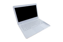 Modern White laptop computer, mouse , hand on wood table, workin Royalty Free Stock Image