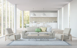 Modern white living,dining room and kitchen 3D rendering image Royalty Free Stock Images