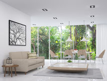 Modern white living and dining room with nature view 3d render image. There are white floor .There are large window overlooking to the garden and nature and Royalty Free Stock Image