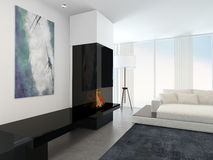 Modern White Living Room with Fireplace Stock Photography