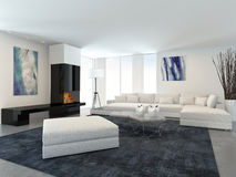 Modern White Living Room with Fireplace. Interior of Modern Living Room in Apartment with Fireplace and White Furniture Stock Photo