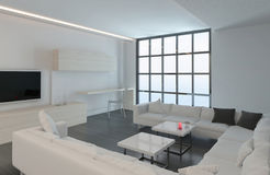 Modern white living room with floor to ceiling window Stock Image