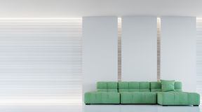Modern white living room interior 3d rendering image. A blank wall with pure white. Decorate wall with extrude horizon line pattern and hidden warm light Stock Photo