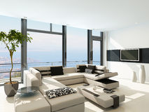 Modern white living room interior with splendid seascape view Royalty Free Stock Photo