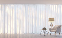 Modern white living room minimal style 3D rendering Image Stock Images