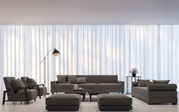 Modern white living room minimal style 3D rendering Image. There are decorate room with white translucent curtain and dark brown sofa Stock Images