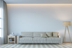 Modern white living room minimal style 3D rendering Image. There white empty wall.Decorate room with light tone color and hidden light on ceiling Stock Photography