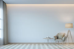 Modern white living room minimal style 3D rendering Image. There are white empty wall.Decorate room with light tone color and hidden light on ceiling Royalty Free Stock Images