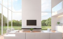 Modern white living room with nature view 3d rendering image. The room has wooden floor and white wall.furnished with white leather furniture.There are large stock illustration