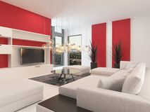 Modern white living room with red accents. Modern white living room interior with red accents on the walls and a large comfortable upholstered lounge suite with royalty free illustration