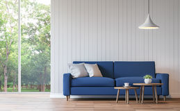 Modern white living room vintage style  3d rendering image. There are wood floor decorate wall with white wooden plank .There are large windows look out to see Royalty Free Stock Images