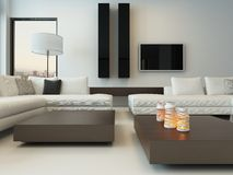 Modern white living room with wooden furniture Stock Photo