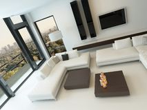 Modern white living room with wooden furniture Stock Photos