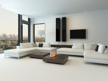 Modern white living room with wooden furniture Royalty Free Stock Photography
