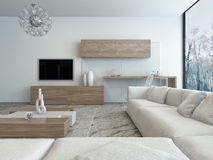 Modern white living room with wooden furniture Stock Image