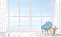 Modern white living with sea view 3d render.There are white floor and white window. Furnished with light blue armchair.There are large window overlooks to sea Royalty Free Stock Photo
