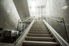 Modern white marble stairs Stock Photography