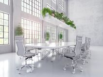 Modern white meeting and conference room royalty free stock photography