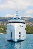 Modern white mega yacht in the blue sea. Rich people on holidays. Royalty Free Stock Photography