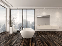 Modern white minimalist bathroom interior. With a freestanding bath tub and recessed wall alcove with wrap around floor-to-ceiling view windows overlooking a vector illustration