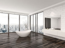 Modern white minimalist bathroom interior Royalty Free Stock Photography