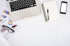 Modern White office desk table Royalty Free Stock Photo